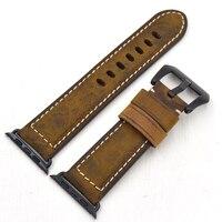 Gehobenen Vintage Leder Männer Uhrenarmband bügel für Apple Uhr 38/42mm Uhrgurt für iwatch Serie 1 2 3 Schnelle lieferung-in Uhrenbänder aus Uhren bei