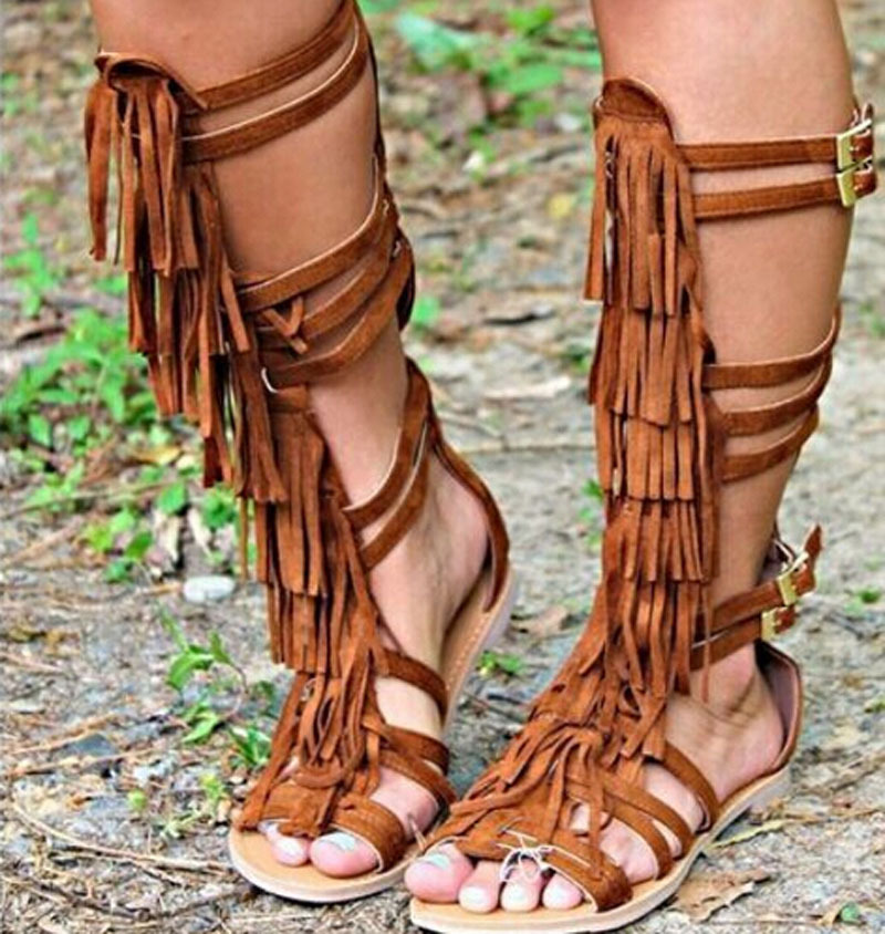 2015 hot selling cut-outs knee high sandal boots woman fashion fringed buckle strappy falt gladiator woman summrt boots цена 2016