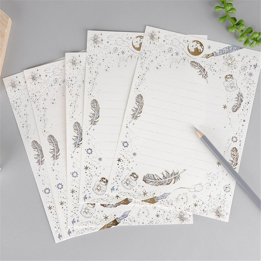 Details About 8pcs Gilding Letter Papers Wedding Invitation Card Writing Pad Writing Paper