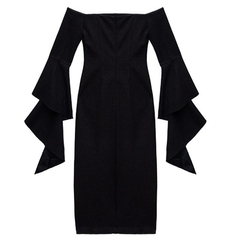 No Exagérée Crayon Mi Flare Épaule Dress Travail Noire Belt Robe Sexy Only Porter Avant Fente Femmes Manches Off D'affaires mollet nEf1Upzqx