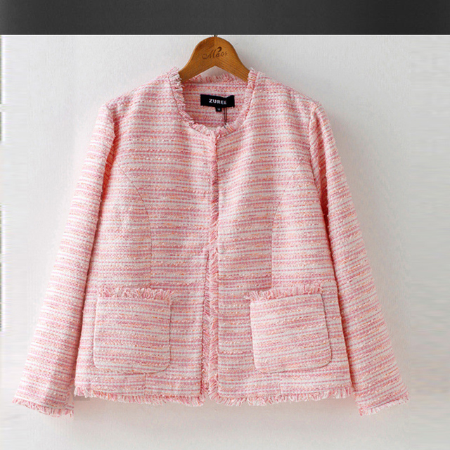 Pink Tweed Jacket 2017 Autumn Winter Women S Jacket High End Burr