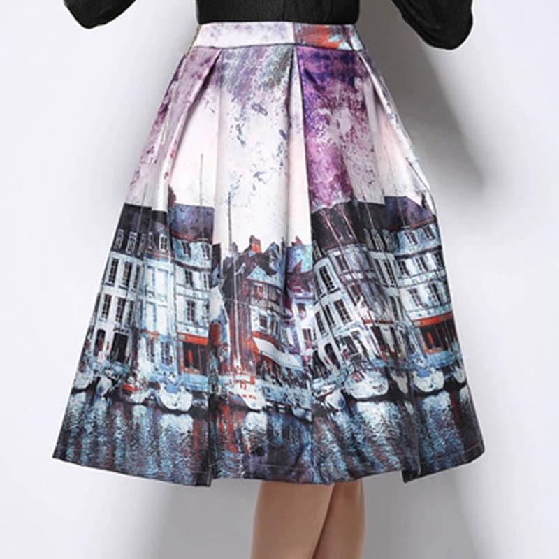 Women Retro Hepburn Fashion Landscape Building Print Skirt ...
