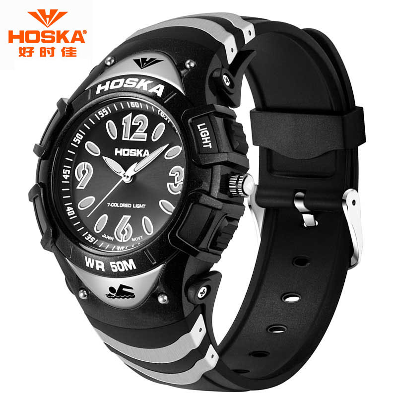 Children Digital Watch Famous Brand HOSKA Unisex Sport LED Display Back Light Rubber Plastic Band Quartz Wristwatches Kids H804