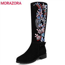 MORAZORA Womens boots autumn 2017 mid calf boots genuine leather fashion boots embroidery special China's style big size 34-43