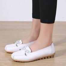 Dobeyping zapatos de piel auténtica para mujer, zapatos bajos para mujer, mocasines sin cordones, zapato grande liso 35 44
