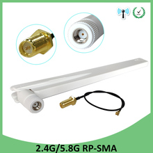 5pcs 2.4GHz 5GHz 5.8Ghz Antenna real 8dBi RP-SMA Dual Band 2.4G 5G 5.8G wifi Antena aerial SMA female +21cm RP-SMA Pigtail Cable allishop rg316d double shielded silver rp sma female to rp sma female extension cable antenna 3m 10ft