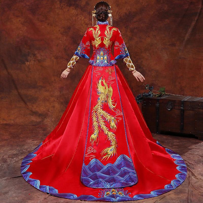Vintage Blue Cheongsam Modern Chinese Traditional Wedding Dress Women Vestido Oriental Collars Elegent Long Qi Pao Size S-XXL 7
