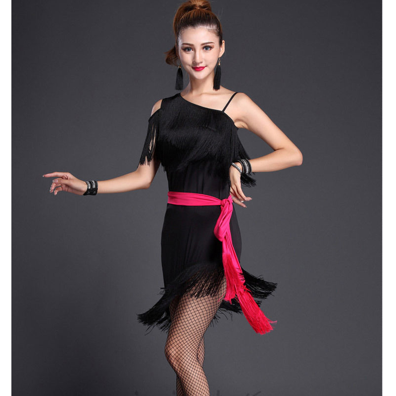 2017  Womens Tasseled Latin Salsa Dancing Costume Set Adult Party Dance Top&skirts