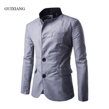 2017 New Spring and Autumn style men suits blazers fashion casual stand collar single breasted solid slim men's jacket coat
