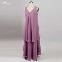 RSE289 V Neck Long Chiffon Two Layers Skirt Cheap Wedding Guest Dress Godmother Dresses Purple Mother Of The Bride Dresses