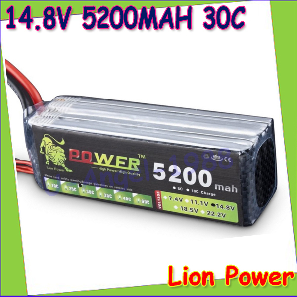 ФОТО 1pcs Original Lion Power Lipo battery 14.8v 5200mah 30C 4S Li poly For RC Car helicopter 6 channel align trex Akku Deans plug