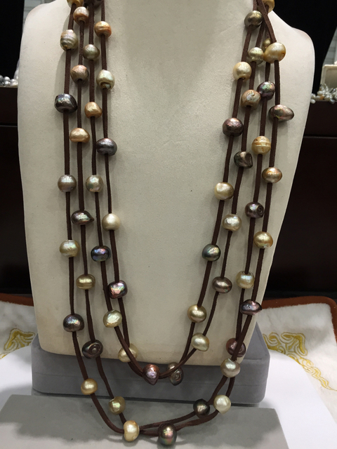 10-11MM Baroque Brown mix color Long pearl necklace multilayer leather 80CM casual magnet clasp fashion women jewelry