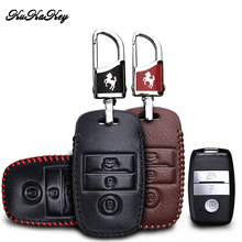 купить KUKAKEY Leather Key Case Fob Cover For Kia KX3 KX5 K3S RIO Ceed Cerato Optima K5 Sportage Sorento Car Styling по цене 499.56 рублей