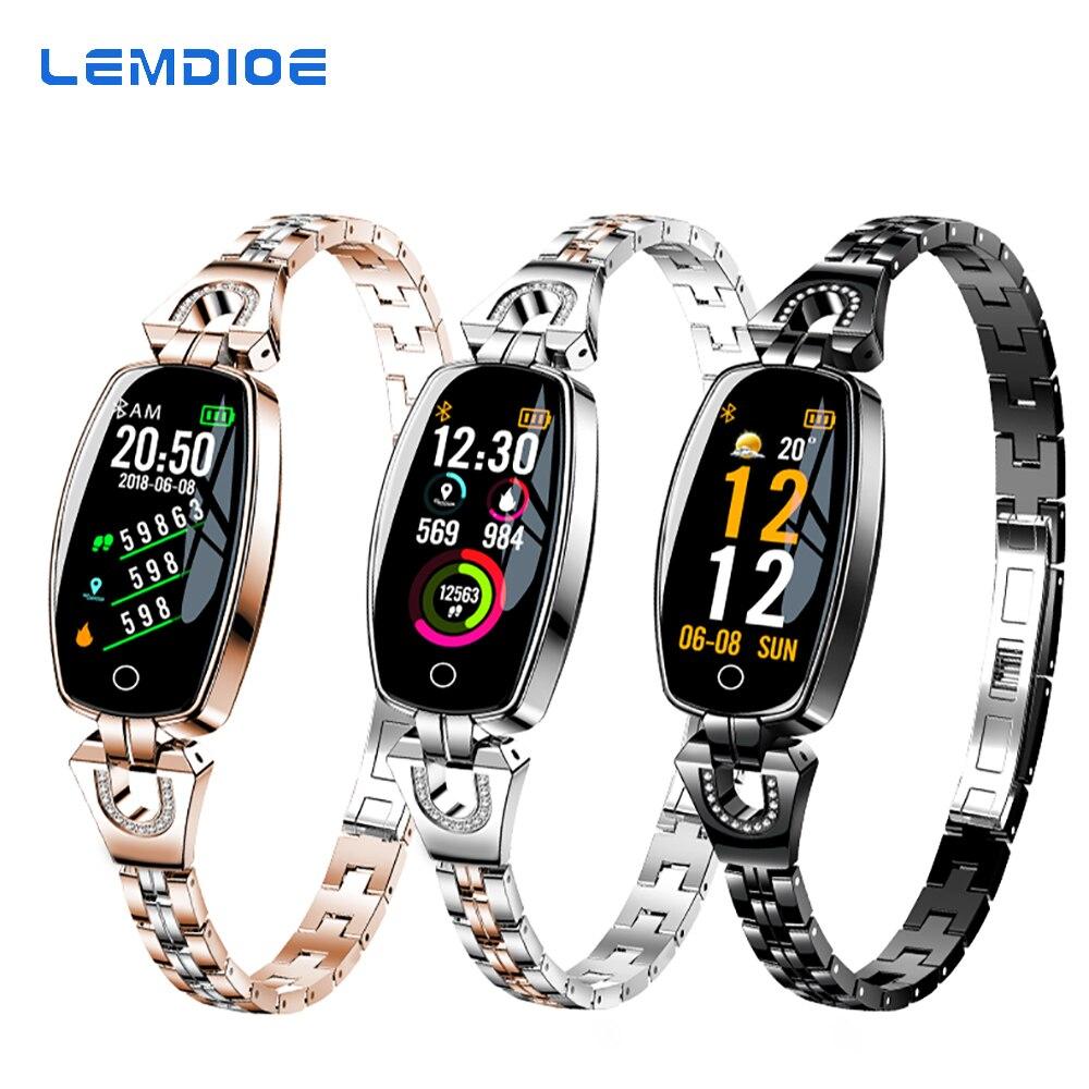 LEMDIOE Bluetooth Fitness pulsera impermeable de vigilancia para Android IOS elegante reloj de pulsera de Fitness banda de moda