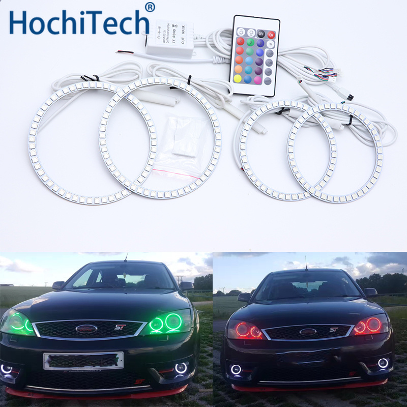 Pour FORD Mondeo MK3 2001 2002 2003 2004 2005 2006 2007 Kit yeux d'ange Led multicolore RGB Halo anneaux feux de jour DRL