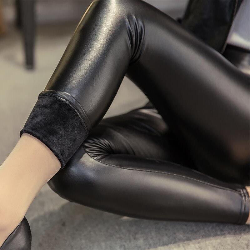 Hot Selling Winter Autumn Women's Leather   Leggings   Soft Slim Plush Thicker Fleece High Elastic Pencil Pants Solid Black Trousers