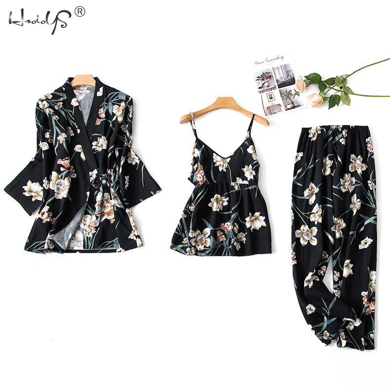 Korea Elegance Floral Cotton Pajamas Sets Women Three-Piece Suit Casual Floral Robes + Cami + Pants Sleepwear Women Pyjamas Sets