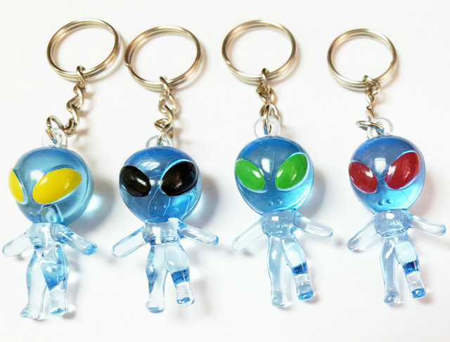 Us 6 99 12 Pcs Aliens Key Ring Blue Pinata Bags Filler Toys Prize Birthday Party Favors Game Gift Capsule Vending Machine Novelty Prize In Party