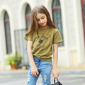 Chica Camiseta de Manga Corta 100% Algodón de La Muchacha Niños Ocasional Del Verano Camiseta Cuello Redondo Aurorababy