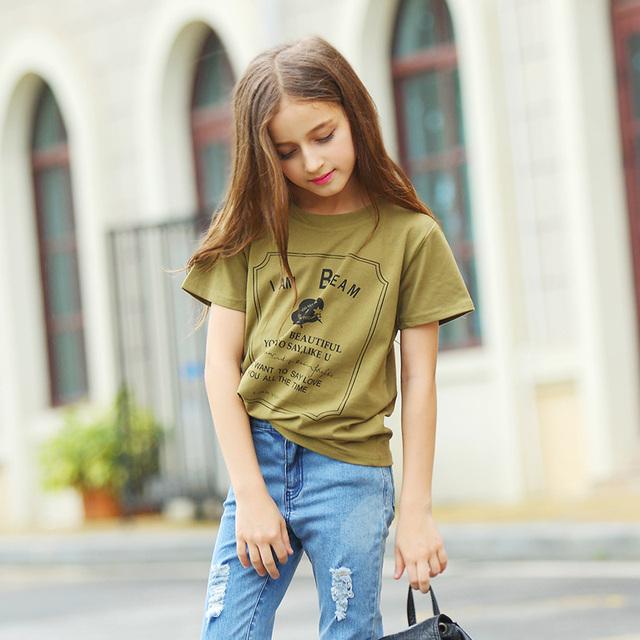 Menina T-shirt de Manga Curta 100% Algodão Menina Crianças Casuais Verão T-shirt Crewneck Aurorababy