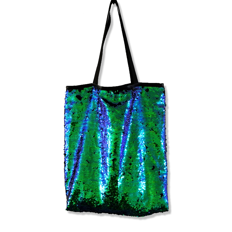 High Quality Sequins Large Handbag Fashion Women Mermaid Sequins Shopping Bag Double Color Shiny Sequins Ladies Casual Tote