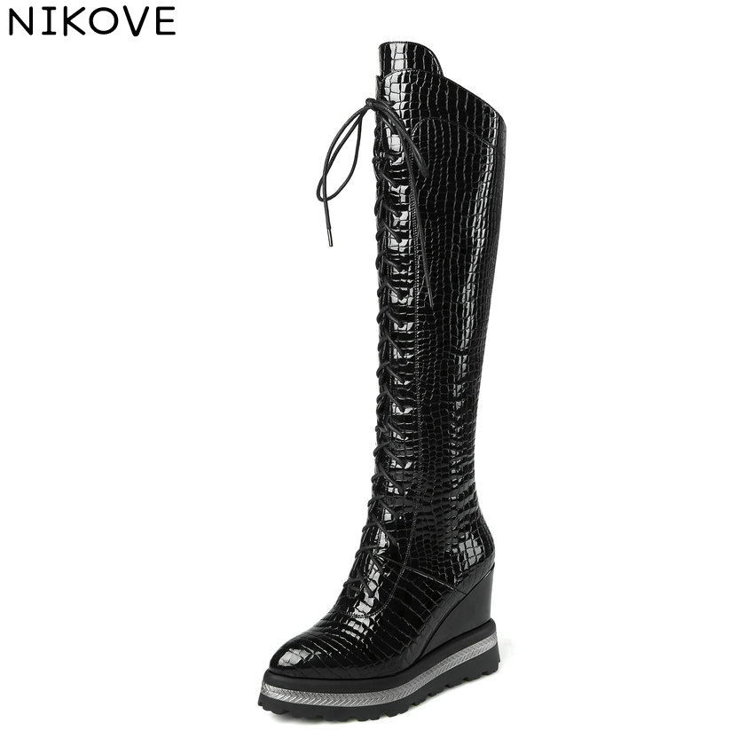 NIKOVE 2018 Women Motorcycle Boots Wedges Patent Leather PU Zipper Knee High Boots Round Toe High Heels Boots Woman Size 34-42