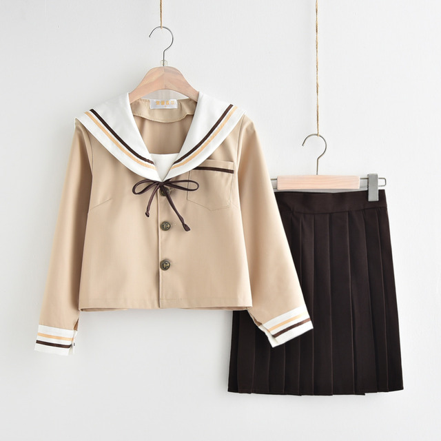 Image of: Korean Girl New Japanesekorean Cute Girls Sailor Suit Student School Uniforms Clothing Outfits Shortlong Shirtsskirtties Sets We Heart It New Japanesekorean Cute Girls Sailor Suit Student School Uniforms