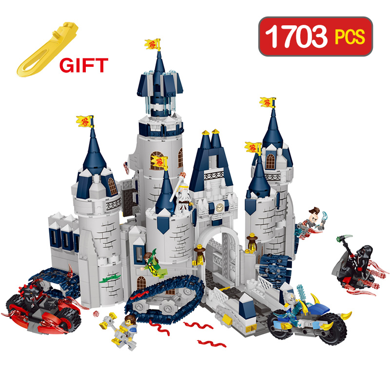 Mars & Dragon Castle Diy Blocks Compatible LegoINGLY Knight Felix motorcycle fight Bricks Building Blocks Toys For Children Gift цены