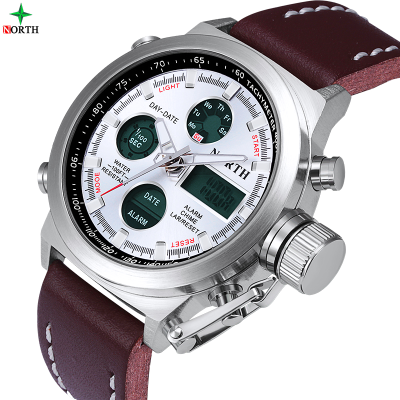 Prix pour NORTH Sport Montres Hommes Horloge De Luxe Marque Numérique LED Montre Boîte En Cuir Relogio Masculino Militaire Montre Hommes Sport Montre-Bracelet
