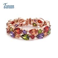 Famosa marca di monna Lisa nel braccialetto zircone Colorato zircone bracciali per le donne delle feste di matrimonio SL-014
