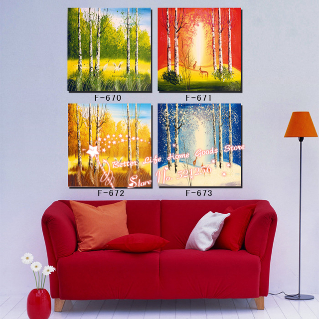 Us 30 8 Modern Wall Art Home Decoration Printed Oil Painting Picture 4 Piece Abstract Birch Trees Spring Summer Autumn Winter 4 Season In Painting