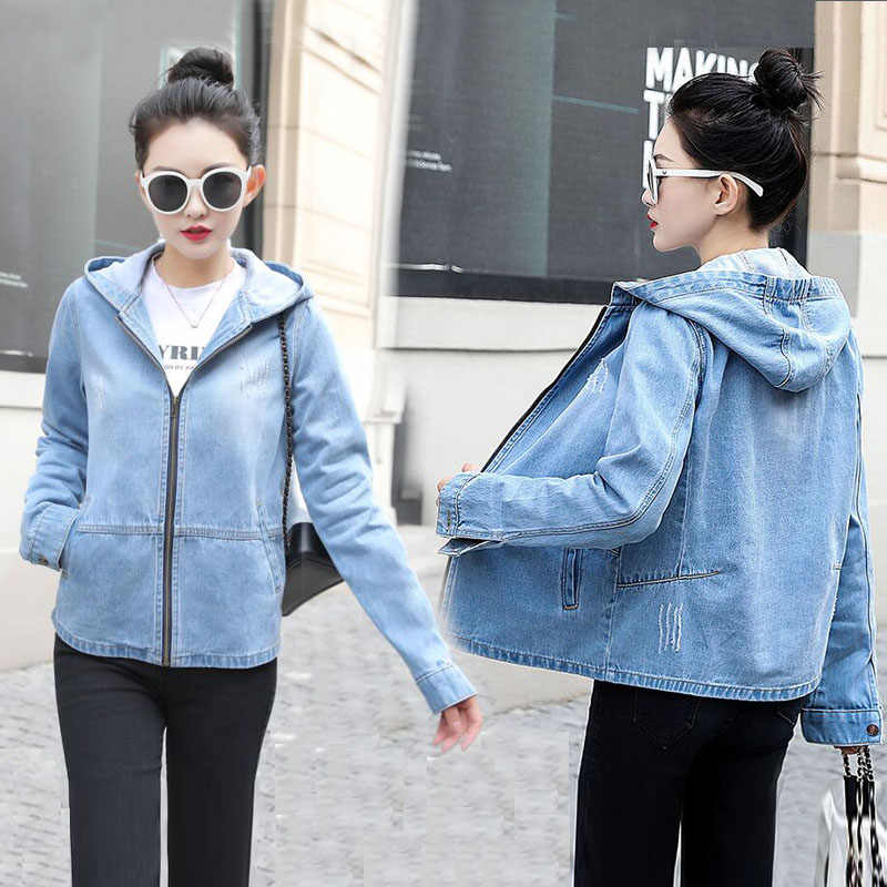 spring autumn Women Bomber Jacket 2019 new Hooded zipper Denim Jacket for women Leisure jeans coat female jacket