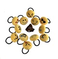10PCS/LOT 6Cm Emoji Hairbands Round Plush Cartoon Expression Wholesale Baby Girl Hair Bow