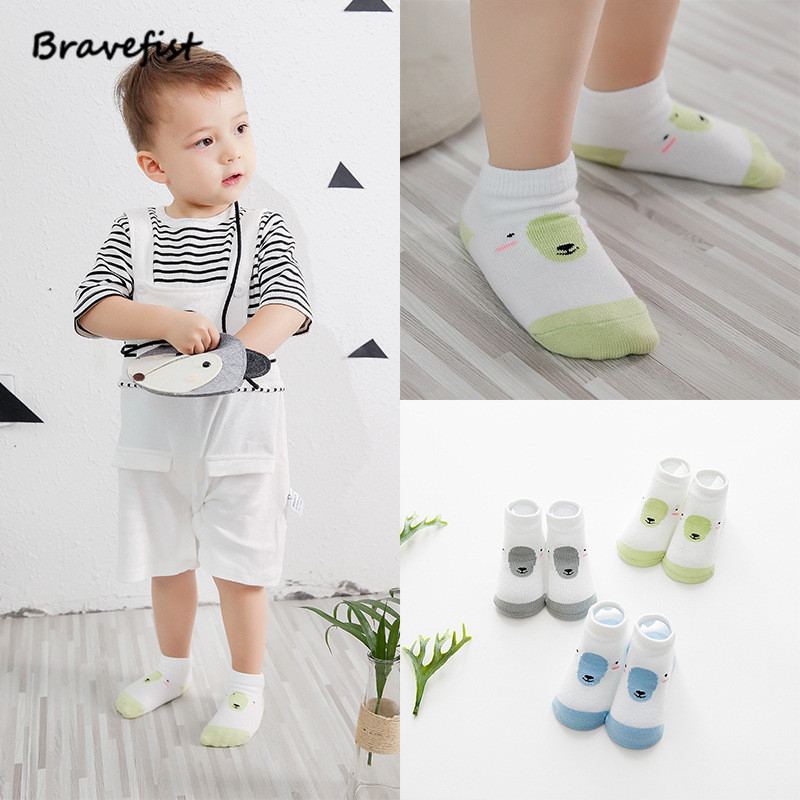 3Pairs=6Pieces Per Lot Summer New Baby Socks Cotton Character Children Kids Boys Girls Spring Autumn Non-sliping Silicone Socks