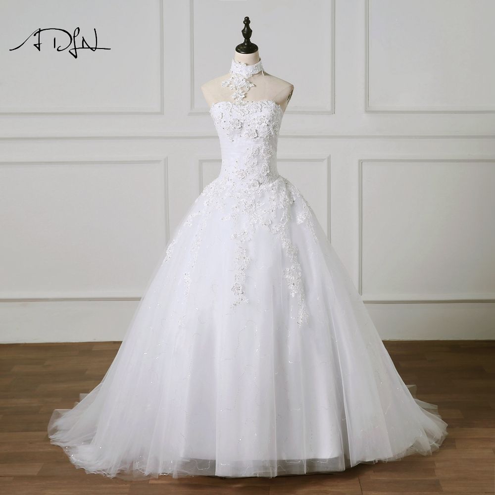 ADLN Stylish Strapless A-line Wedding Dress with Pearls 2019 Charming White/Ivory Plus Size Princess Bridal Gown Customized