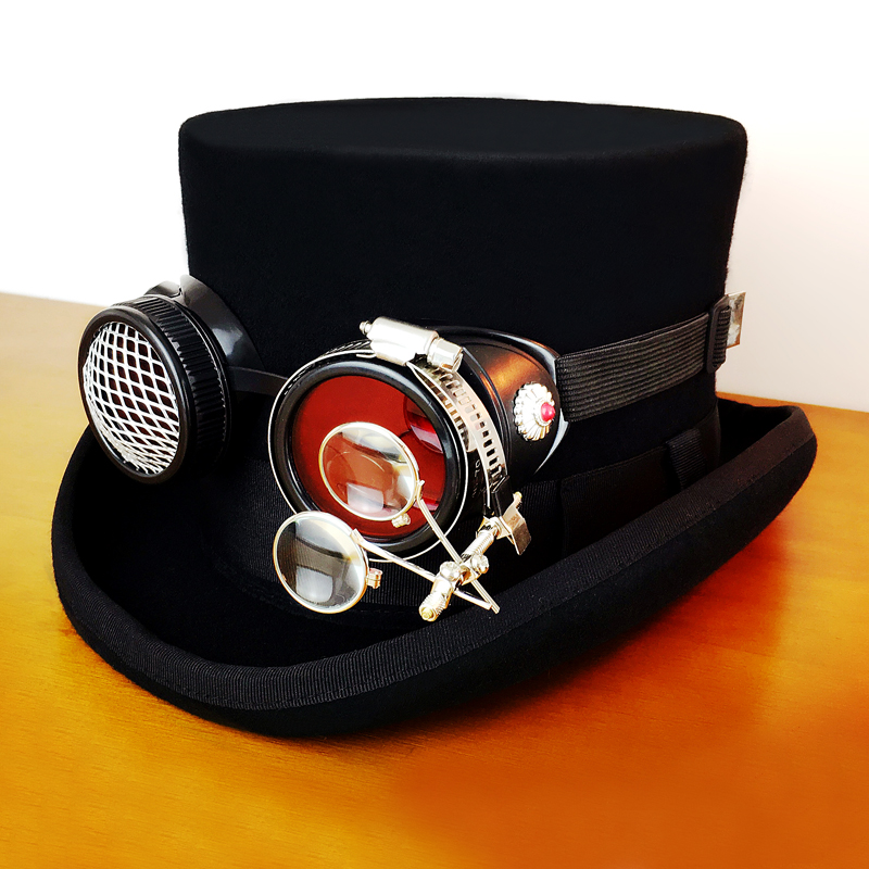 GEARDUKE Steampunk Hat Gear Glasses Gothic Victorian Cosplay Fedora Top Heawear