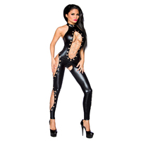 2017 New Stylish Black Erotic Catsuit For Women Halter Bodysuit Chains And Hollow Out Design Open