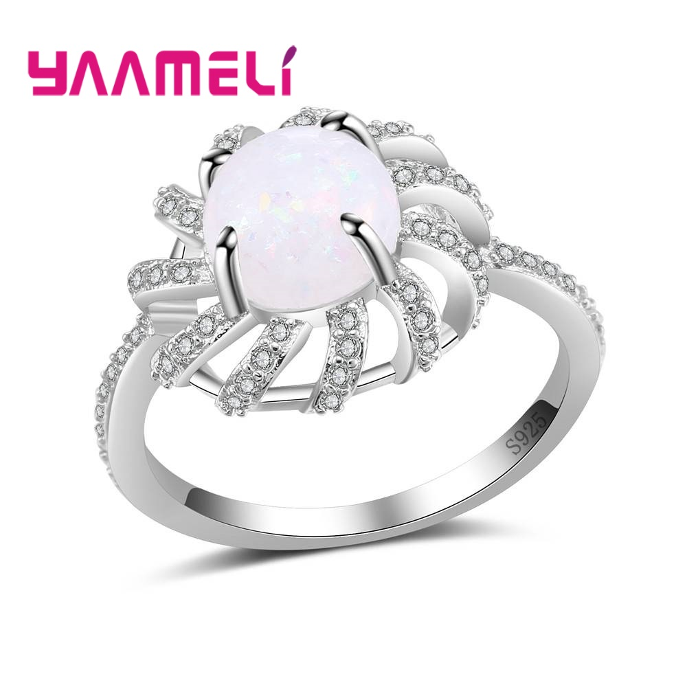 YAAMELI Original 100% 925 Sterling Silver Fashion Round Fire Opal Stones Jewelry Rings Special Offer Weddings/Engagements Ring