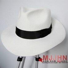 MJ Майкл Джексон Гладкий Criminal с именем белый FEDORA шерсть шляпа Trilby коллекция
