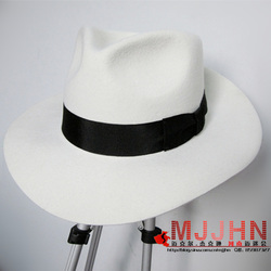 MJ Michael Jackson Smooth Criminal Mit Name Weiß FEDORA Wolle Hut Trilby Sammlung