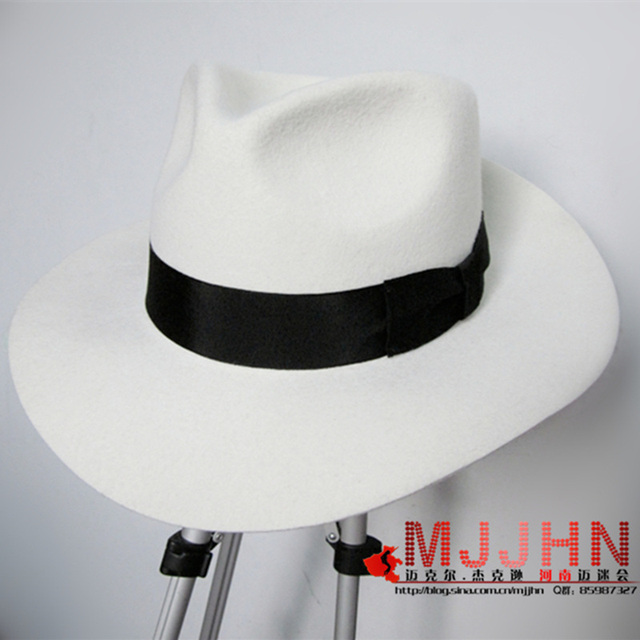 7bb6fcd532992 MJ Michael Jackson Smooth Criminal With Name White FEDORA Wool Hat Trilby  Collection