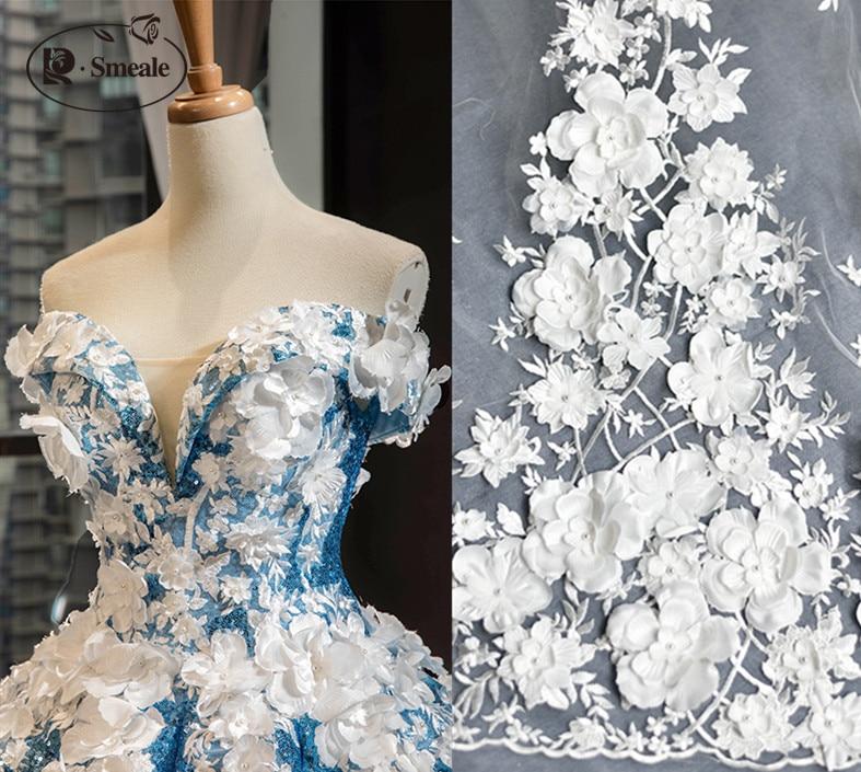 Image 2 - Ivory White Wedding Dress Lace Fabric, 3D Chiffon Flowers Nail  satin Bead High End European Lace Fabric Free Shipping RS583dress lace  fabricwedding dress lace fabriclace fabric