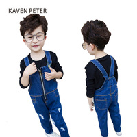 2017 moda dziecko Spodnie Jeans Denim kombinezony kombinezony niebieski Dzieci Boys Baby Spodnie dziewczyny romper ogólnie rozmiar 5-13