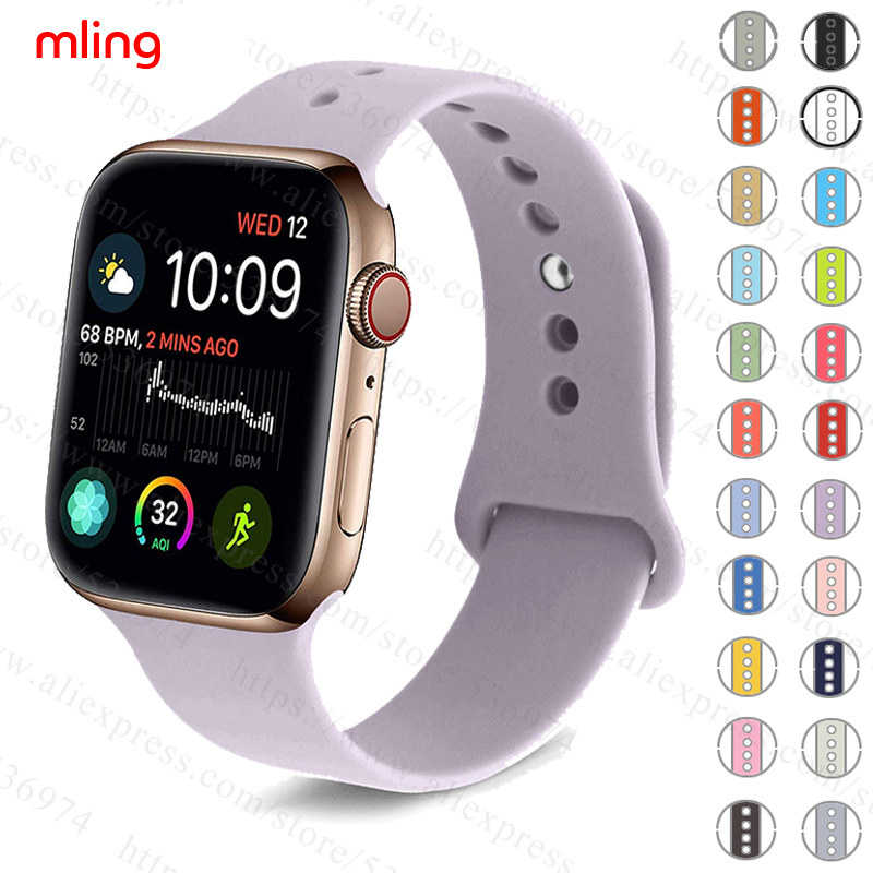 Colorful Soft Silicone Sports Band For Apple Watch Series 1 2 3 4 38MM 42MM Rubber Watchband Strap For 40MM 44MM IWatch Series4(China)