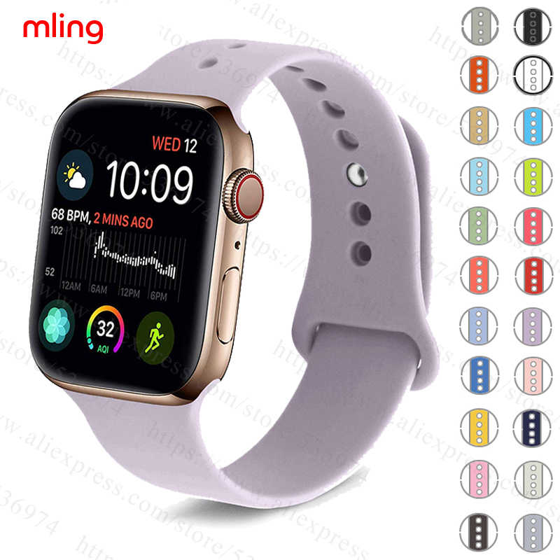 Colorful Soft Silicone Sports Band for Apple Watch Series 1 2 3 4 38MM 42MM Rubber Watchband Strap for 40MM 44MM iWatch Series4