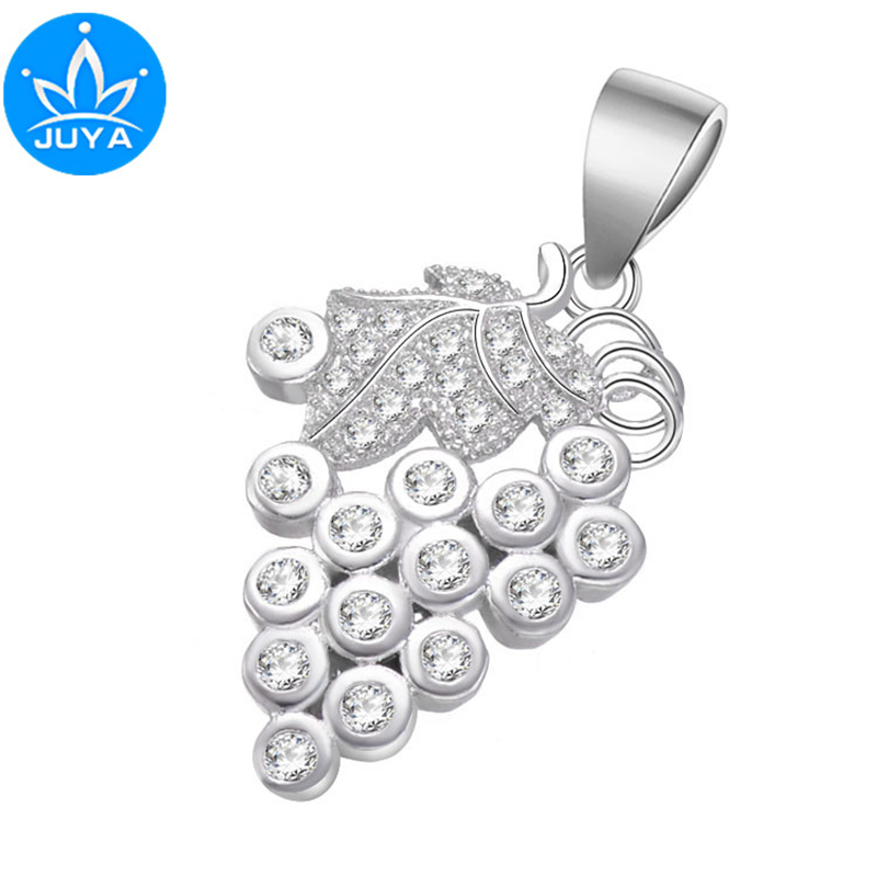 Hot Selling Jewelry Shining Zircon Grape Floating Charms For Jewelry Making Diy Micro Pave Fruit Charms Vintage Berloques