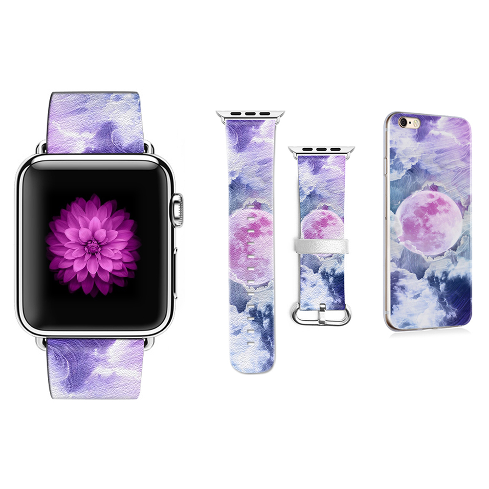 Original DIY Pattern Watchbands for Apple Watch 38mm 42mm Series 1 2 3 4 Band for Iwatch Strap Leather Gift for IPhone Case shining rhinestone piano pattern plastic back case for iphone 4 4s silver