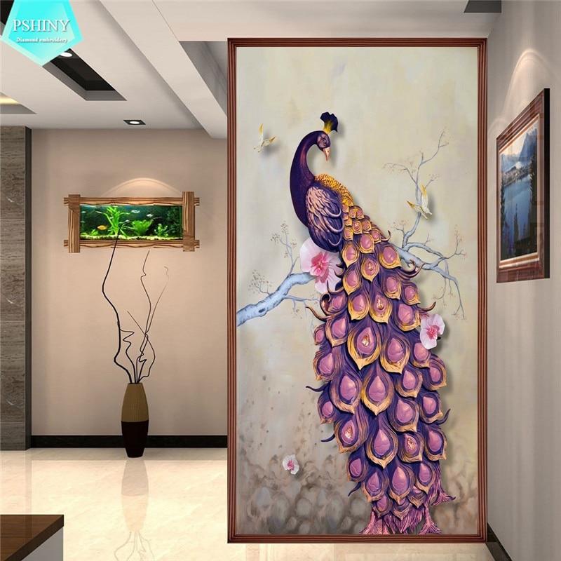 DIY 5D Full Diamond Embroidery Purple Peacock Round Diamond Painting Cross