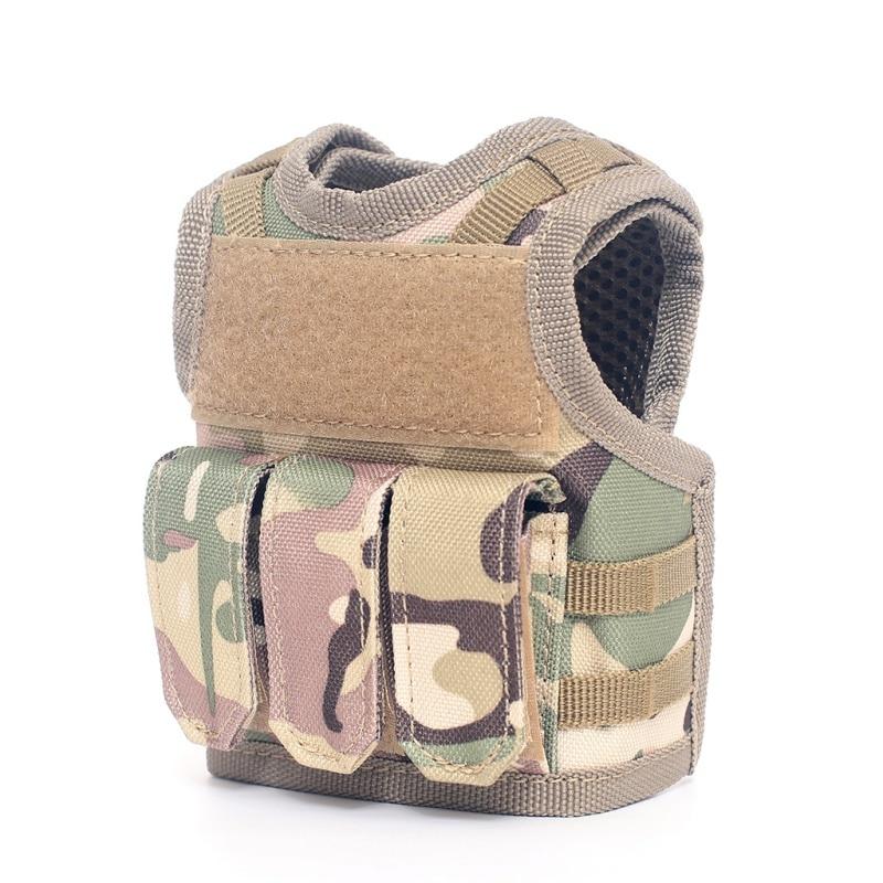 Military Mini Miniature Molle Vest Personal Bottle Drink Set Adjustable Shoulder Strap Drink Tactical Beer Bottle Cover