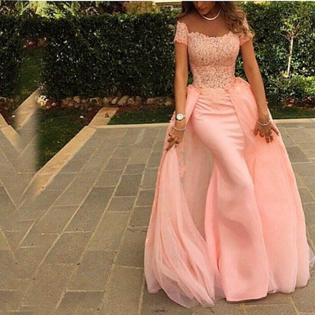 peach lace long evening dress 2015 new arrival elegant